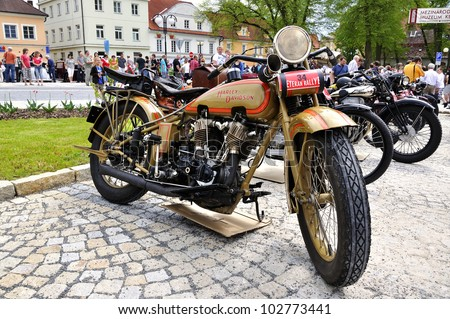 KRIVONOSKA - MAY 5: Harley Davidson motorbike on Car Competition during 42th Czech Veteran Rallye. May 5, 2012 in Bechyne, Czech Republic. - stock photo
