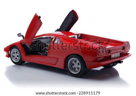 KRIVOY ROG, UKRAINE - OCT 26 - Toy lamborghini Diablo on white background, Sunday 26 October 2014 - stock photo