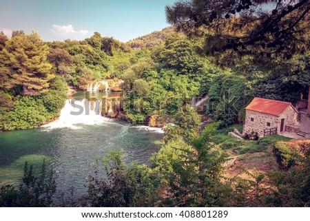Krka river in Croatia and waterfalls in Krka National park - stock photo