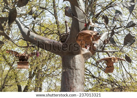 "KRONSTADT, RUSSIA - MAY 19, 2013: Photo of  Detail of the monument ""Wish Tree"". - stock photo"