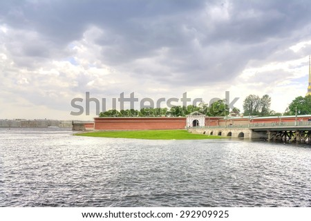 Kronversky channel, Neva River and the Trinity Bridge. The historic city center - stock photo