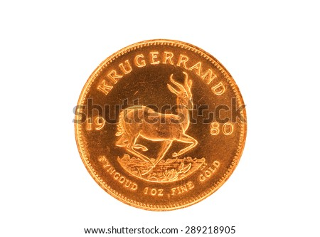 Krugerrand gold coin from South Africa - stock photo