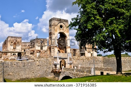 Krzyztopor, Poland. Impressive castle ruins from 17th century. - stock photo