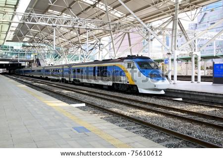 KTX is a hi-speed train in Korea. - stock photo