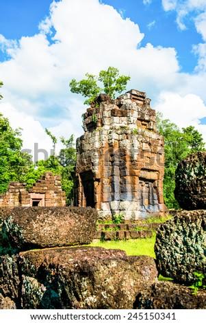 Ku Santaratana pagoda, the ancient pagoda in Thailand - stock photo