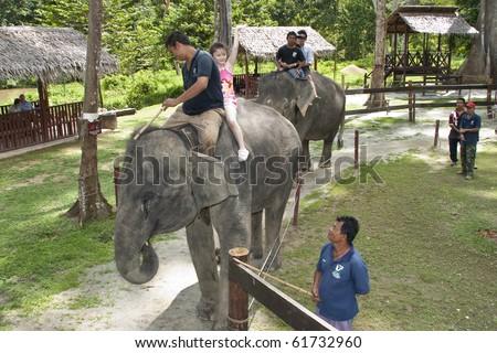 KUALA GANDAH, MALAYSIA - SEPTEMBER 25 : Visitors to Elephant Orphanage Sanctuary was treated to an elephant ride during Elephant Awareness Program September 25 2010 in Kuala Gandah, Malaysia. - stock photo