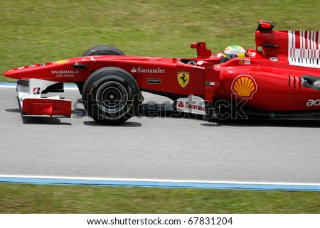 KUALA LUMPUR - APRIL 3: Ferrari's driver Felipe Massa races down the track on practice day at the 2010 Petronas Malaysia Grand-Prix on April 3, 2010 in Sepang International Circuit, Malaysia.