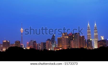 Kuala Lumpur at dusk, Malaysia - stock photo