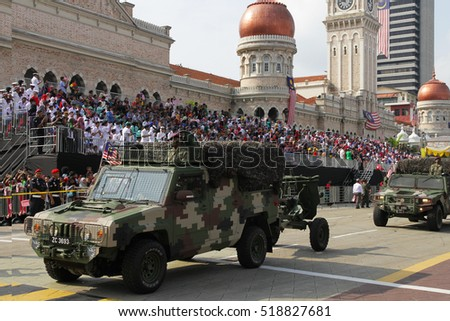 KUALA LUMPUR - AUGUST 31: Armored personnel carriers from the armor units take to the city streets in a parade as Malaysians celebrate Independence Day on August 31, 2016 in Kuala Lumpur, Malaysia.