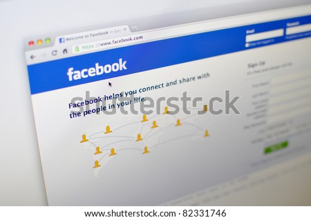 KUALA LUMPUR - AUGUST 7:Homepage of facebook.com August 7, 2011 in Kuala Lumpur, Malaysia. Guardian UK recently reported Mark Zuckerberg's sister Randy quits facebook to set up her own social website. - stock photo