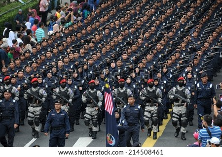 KUALA LUMPUR - AUGUST 31: Marine department during 57th Celebrations, Malaysian Independence Day Parade on August 31, 2014 in Kuala Lumpur, Malaysia.  - stock photo