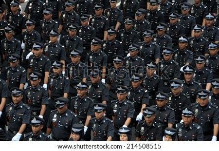 KUALA LUMPUR - AUGUST 31: Police department during 57th Celebrations, Malaysian Independence Day Parade on August 31, 2014 in Kuala Lumpur, Malaysia.  - stock photo
