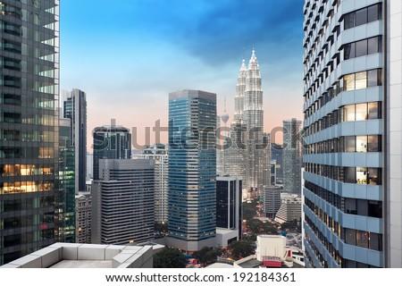 Kuala Lumpur city skyline - stock photo