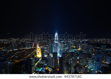 Kuala Lumpur city view at night circa 30th May 2016