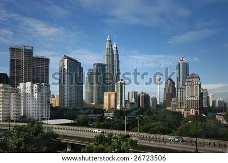 Kuala Lumpur Cityscape with twin tower - stock photo