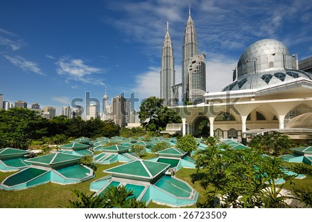 Kuala Lumpur Cityscape with twin tower and mosque - stock photo