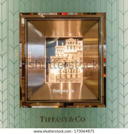 KUALA LUMPUR - DEC 23: Tiffany & Co shop display at KLCC on Dec 23,13 in KL. It is an American multinational luxury jewelry and specialty retailer, having headquarters in New York City. - stock photo