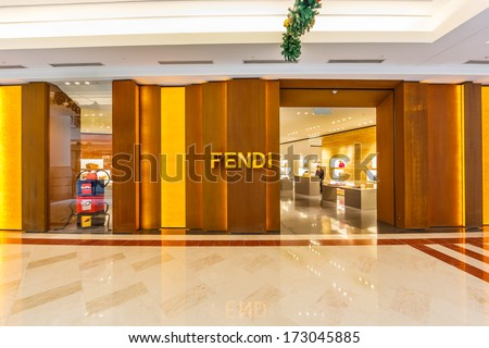 KUALA LUMPUR - DECEMBER 23: Front view of FIDI store at KLCC on Dec 23, 2013 in KL, Malaysia. It is a multinational luxury goods brand owned by LVMH Moet Hennessy Louis Vuitton.