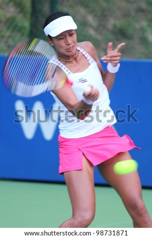 KUALA LUMPUR - FEB 28: Anne  Keothavong (GBR) in action during the second round of the BMW Malaysian Open 2012 against Su-Wei Hsieh (TPE) on Feb 28,2012 in Kuala Lumpur,Malaysia. Hsieh win (6-4,7-5)