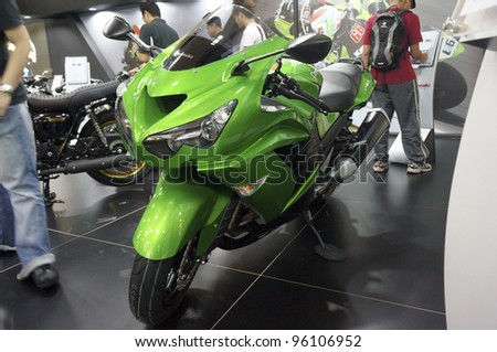 KUALA LUMPUR - FEB 26: Kawasaki Ninja ZX-14R on display at the MotoXpo exhibition on February 26, 2012 in Kuala Lumpur, Malaysia. 1352 cc  four-stroke, four valve per cylinder, inline-four and top speed 299 km/h