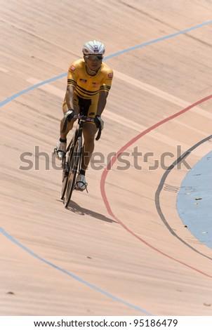 KUALA LUMPUR - FEBRUARY 9: Azizulhasni Awang, rider from Malaysia during Asian Cycling Championships 2012 held in Kuala Lumpur, Malaysia on February 9, 2012. - stock photo