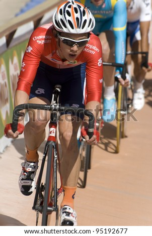 KUALA LUMPUR - FEBRUARY 11: Hongkong rider, lead a while in Keirin category during  the Asian Cycling Championships 2012 in Kuala Lumpur, Malaysia on Saturday, February 11, 2012.