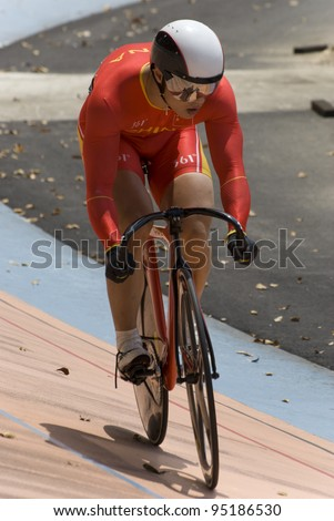 KUALA LUMPUR - FEBRUARY 9: Rider from China during Asian Cycling Championships 2012 held in Kuala Lumpur, Malaysia on February 9, 2012. - stock photo