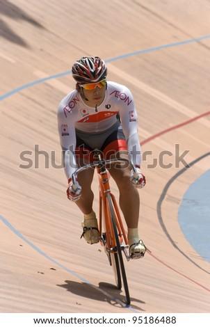 KUALA LUMPUR - FEBRUARY 9: Rider from Japan during Asian Cycling Championships 2012 held in Kuala Lumpur, Malaysia on February 9, 2012. - stock photo