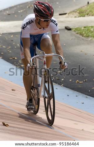KUALA LUMPUR - FEBRUARY 9: Rider from Korea during Asian Cycling Championships 2012 held in Kuala Lumpur, Malaysia on February 9, 2012. - stock photo
