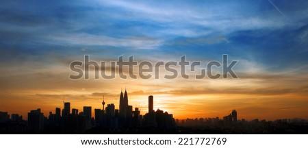 Kuala Lumpur in Silhouette  - stock photo