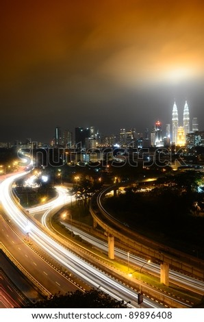 Kuala Lumpur is the capital and the largest city of Malaysia. Stunning light trail at highway in Kuala Lumpur city