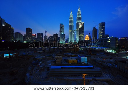 KUALA LUMPUR - JANUARY 9: Construction site of Four Season Place, a 65 - storey building comprises of apartments and a hotel in Kuala Lumpur, Malaysia on January 9, 2014.