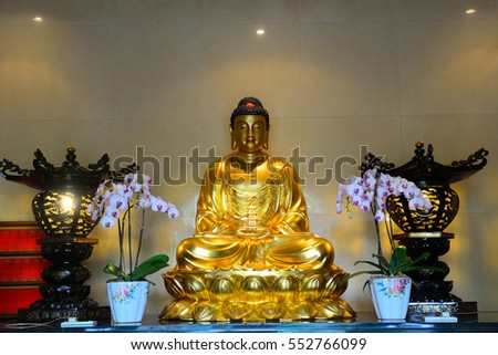 KUALA LUMPUR - JANUARY 7: Guanyin Temple at January 7, 2017 in Kuala Lumpur, Malaysia. Guanyin is the Chinese version of Sanskrit Avalokiteshvara, the bodhisattva of mercy and compassion.