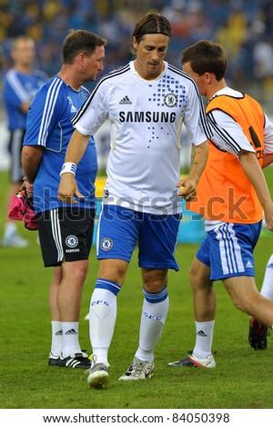 KUALA LUMPUR, JULY 21 : Chelsea's Fernando Torres warm-up during a preseason match against Malaysia on July 21, 2011 in Kuala Lumpur, Malaysia. Chelsea won 1-0 - stock photo