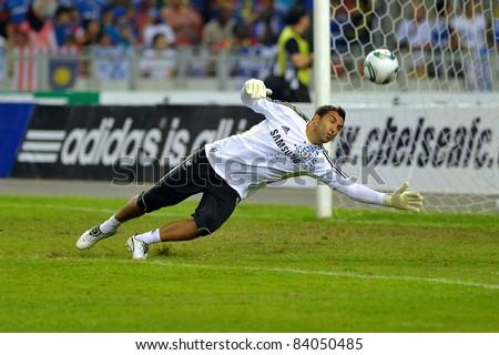 KUALA LUMPUR, JULY 21 : Chelsea's Henrique Hilario warm-up during a preseason match against Malaysia on July 21, 2011 in Kuala Lumpur, Malaysia. Chelsea won 1-0 - stock photo