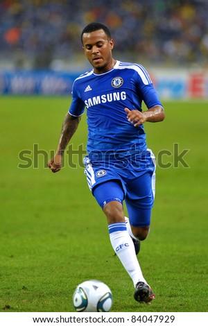 KUALA LUMPUR, July 21 : Chelsea's Ryan Bertrand in action during a preseason match agains Malaysia on July 21, 2011 in Kuala Lumpur, Malaysia. Chelsea won 1-0 - stock photo