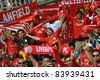 KUALA LUMPUR - JULY 16: Liverpool football club fans during a friendly match against Malaysia XI on July 16, 2011 in Kuala Lumpur, Malaysia. Liverpool won 6-3. - stock photo