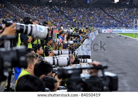KUALA LUMPUR, JULY 21 : Media at work during a preseason match against Malaysia on July 21, 2011 in Kuala Lumpur, Malaysia. Chelsea won 1-0 - stock photo