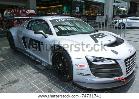 KUALA LUMPUR, MALAYSIA - APRIL 3: Audi R8 GTl on display during F1 street demonstration on April 3, 2011 in KL, Malaysia. The event is a promotion for F1 Malaysia Grand Prix 2011