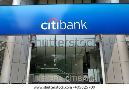 KUALA LUMPUR, MALAYSIA - April 10, 2016. Citibank logos display on board outside the building in Kuala Lumpur. Citibank is an American financial services company. Founded since 1812. - stock photo