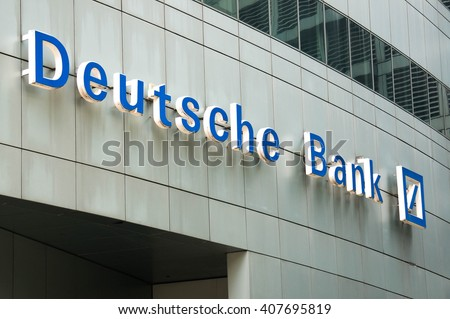 KUALA LUMPUR, MALAYSIA - April 10, 2016. Deutsche Bank company logo. Deutsche bank is a German global banking and financial service company headquartered in Frankfurt Germany.  - stock photo