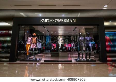 KUALA LUMPUR, MALAYSIA - April 10, 2016. Emporio Armani shop inside Suria KLCC. Emporio Armani is an Italian fashion house headquarters in Milan. Founded by Giorgio Armani since 1975. - stock photo