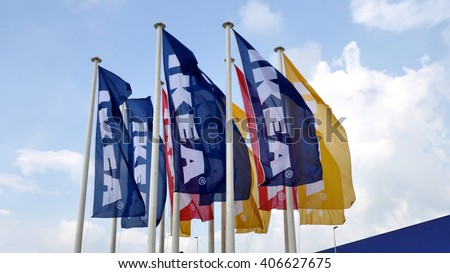 KUALA LUMPUR, MALAYSIA - April 13, 2016. Ikea flag is flying on the side of the building. - stock photo