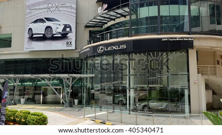 KUALA LUMPUR, MALAYSIA - April 10, 2016. Lexus showroom in city center of Kuala Lumpur. Lexus is a luxury vehicle division of Japanese automaker Toyota. Marketed in over 70 countries worldwide. - stock photo
