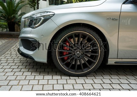 KUALA LUMPUR, MALAYSIA - APRIL 11, 2016: Mercedes-Benz CLA45 AMG parking on the side road. Photo at Jalan P Ramlee road about 600m to KLCC - stock photo