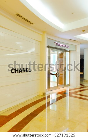 KUALA LUMPUR, MALAYSIA - APRIL 23, 2014: Tiffany&Co and Chanel stores exterior in Suria KLCC shopping mall. Suria KLCC is one of the largest shopping malls in Malaysia