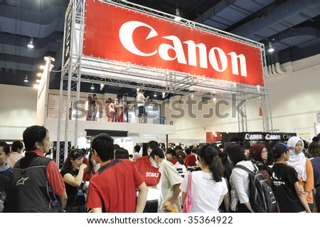 KUALA LUMPUR, MALAYSIA - AUGUST 15: Canon booth at Kuala Lumpur Photography Festival August 15, 2009 in Mid Valley Exhibition Center, Kuala Lumpur. - stock photo