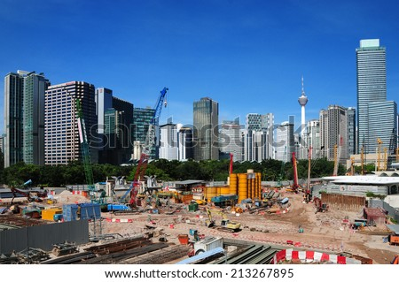 KUALA LUMPUR, MALAYSIA - AUGUST 24: Construction site progress work in Kuala Lumpur, Malaysia  on August 24, 2014  - stock photo