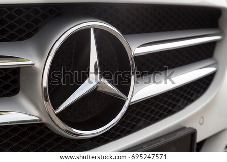 KUALA LUMPUR, MALAYSIA - August 12, 2017: Mercedes-Benz is a global automobile manufacturer and a division of the German company Daimler AG, known for luxury vehicles.