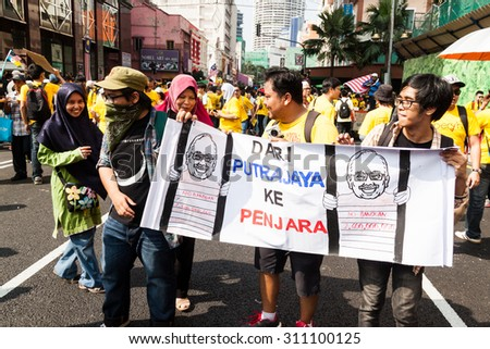 KUALA LUMPUR, Malaysia, August 29, 2015: Street rally dubbed BERSIH 4 on August 29 and 30th to call for clean and transparent governance in Malaysia and strengthening parliamentary democracy system